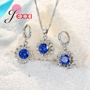 925-Sterling-Silver-Blue-Cubic-Zircon-Crystal-Pendant-Necklace-And-Earring-Set