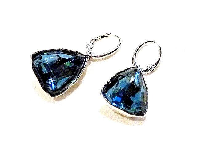 Bijou authentiques boucles d'oreilles Swarovski cristal blue ring