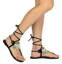 Qupid Size 10 - Black Flat Lace Up Sandals - Cute and Fun for Any Occasion