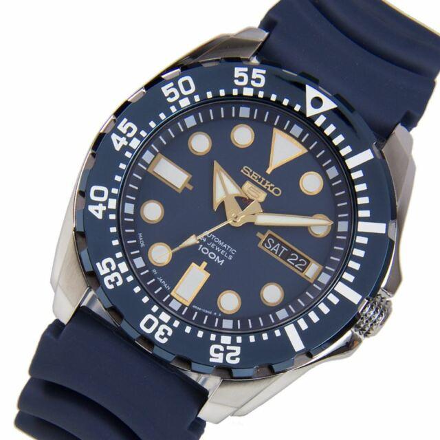 Seiko SRP605J2 SRP605 SRP605J Blue Automatic Rubber Strap Male Sports Watch