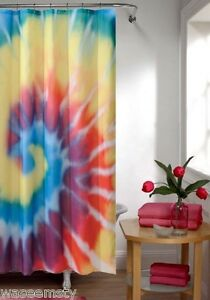 Image Is Loading Colorful Rainbow Bright Tie Dye Fabric Bath Shower