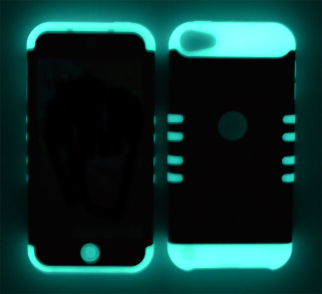 Black Hard Cover w/ Glow in Dark Impact Soft Case for Apple iPod Touch 5 5th Gen
