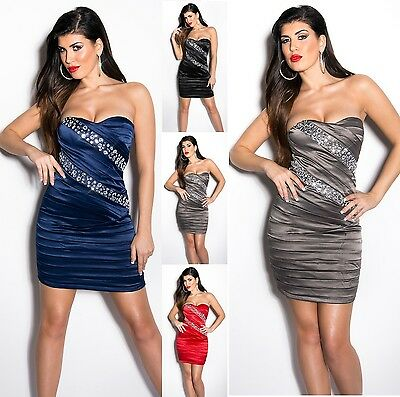 Sexy Dress Cocktail  Kleid Party Minikleid Abendkleid  Strass