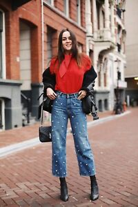 3c3dfb5fec ZARA NEW SS17 HIGH-RISE MOM FIT JEANS WITH PEARLS BLUE REF.8246 054 ...