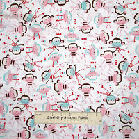 Nursery Sock Monkey Toss White Fabric 100% Cotton By The Yard Timeless Treasures