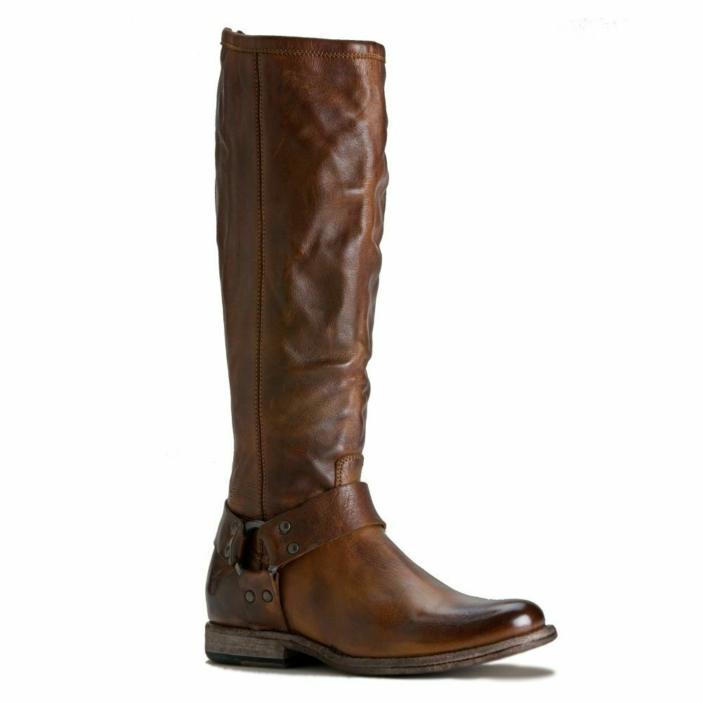 New FRYE Phillip Harness Tall Cognac Soft Vintage Leather Boots Ladies 7