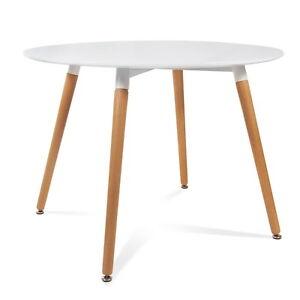 Mesa redonda MRE-120  color blanco McHaus cocina comedor salon madera