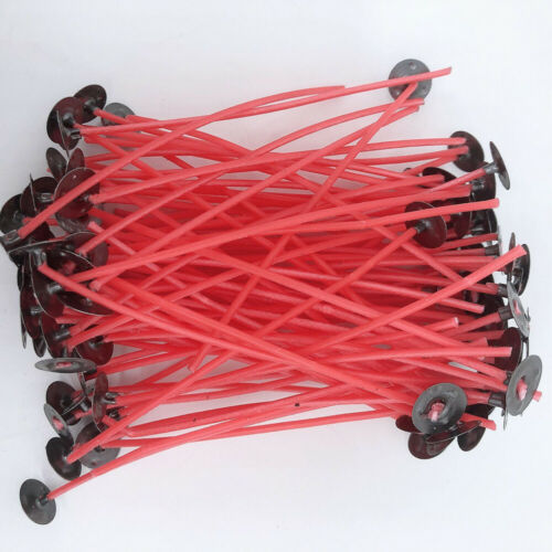 50x Pre Waxed Candle Wicks Red Cotton Core with Sustainers DIY Candles Making
