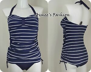 ca2c7bc17e7 Image is loading NEXT-SWIMSUIT-SWIMMING-COSTUME-NAVY-NAUTICAL-HALTER -TANKSUIT-