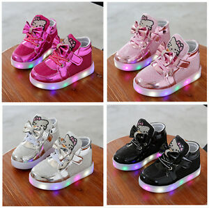 Kids-Boys-Girls-LED-Shoes-Light-Up-Luminous-Children-Trainers-Sport-Sneakers
