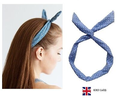 WIRED HEADBAND PAISLEY WHITE Hand Wrist Neck Scarf  Rockabilly Wire Hair Band UK