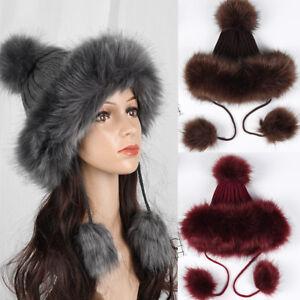 Women Winter Wool Knitted Snow Ski Cap Fleece Bomber Trapper Earflap ... b364a5448b16