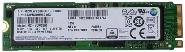 Samsung PM961 NVMe 256GB M.2 PCI Express X4 SSD MZVLW256HEHP Internal OEM