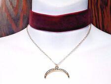 BLOOD RED EVIL EYE PENDANT CHOKER velvet band crescent moon pendant necklace U1