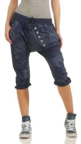 Donna Capri Pantaloni corti con bottoni fiori boyfriendshose BUGGY pantaloni sportivi