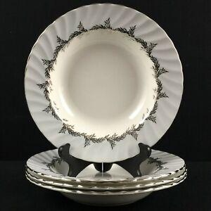 Set of 4 VTG Rim Soup Bowls EB Foley Silver Fern Platinum Trim Laurel England
