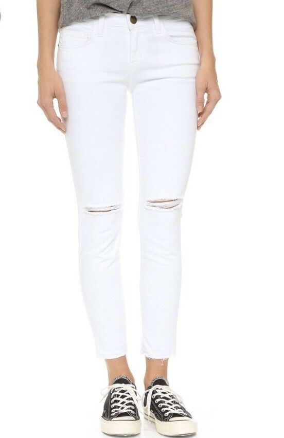 NWT Current Elliot Jeans White Destory Sugar Knee Raw Hem Size 28