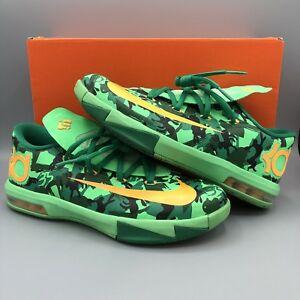 045224f9f45 Nike KD VI GS Low Top Camo Easter Green Atomic Mango 599477 303 Size ...
