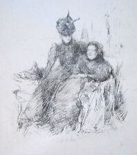 "JAMES A. M. WHISTLER Original Vintage 1897 Lithograph - ""Mother and Daughter"""