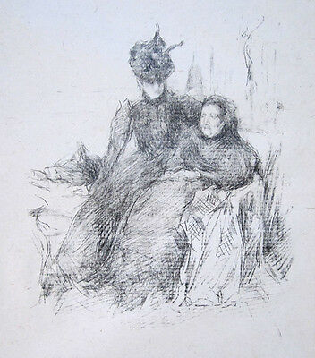 """JAMES A. M. WHISTLER Original Vintage 1897 Lithograph - """"Mother and Daughter"""""""