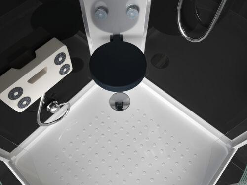 Duschkabine Arielle II Komplett Fertigdusche Echtglas 90//100cm Bluetooth Schwarz