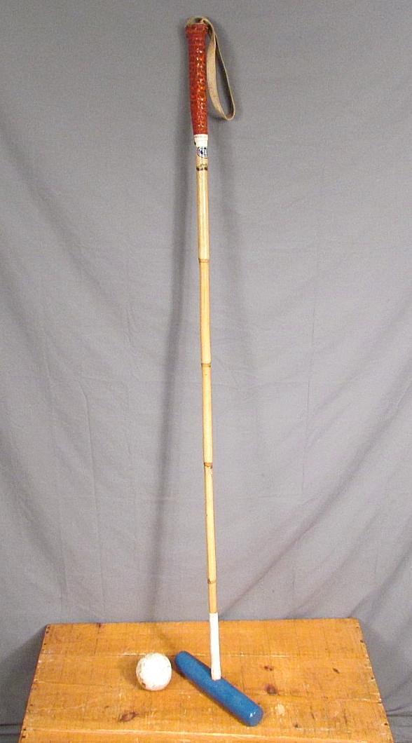 Vintage Merlo's International Polo Mallet Hurlingham Bamboo Shaft 52  silverina