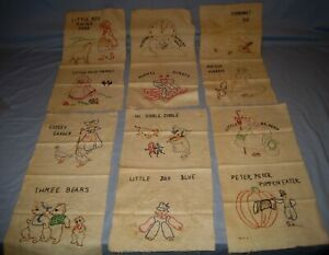 VTG-Lot-12-Quilt-Blocks-Nursery-Rhymes-Embroidery-Sunbonnet-Sue-amp-More