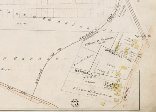 VERNON SCHOOL BOSTON BROMLEY MT MA. G.W 1896 ROXBURY COPY ATLAS PLAT MAP