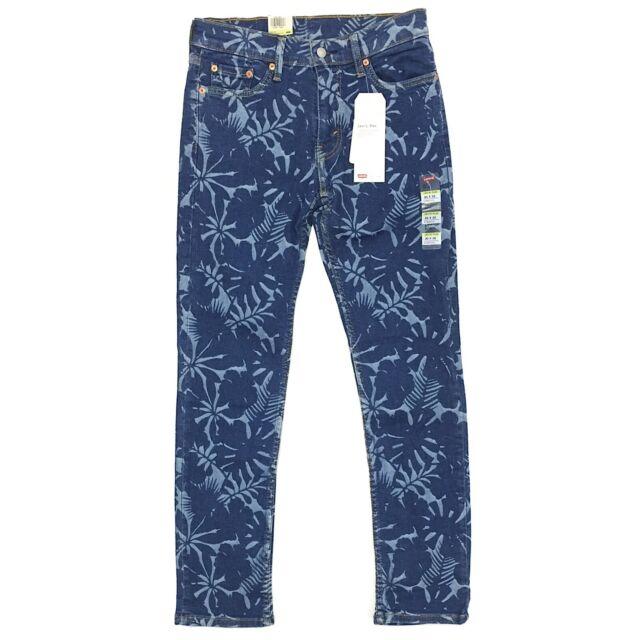 Levi's 511 Slim Men's Jeans Blue Floral Print Stretch Fit Denim Tencel Fabric