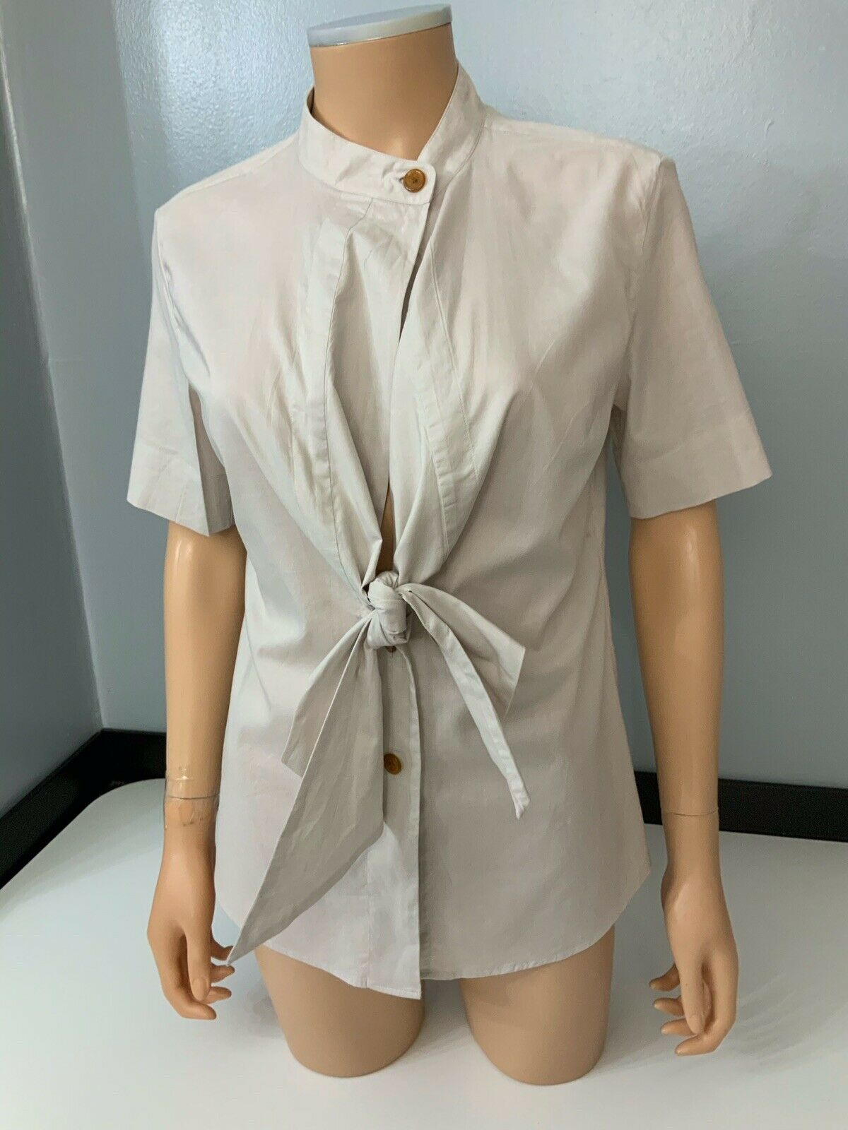 Vivienne Westwood Beige rot Label Hemd Blouse Vgc Größe 3 Uk 10 daMänner's