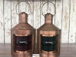 Antique-Copper-Finish-Port-amp-Starboard-Lanterns-Ship-Oil-Lamp-Nautical-Light