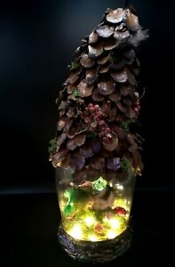 Beautiful-Woodland-Baby-fairy-in-a-Jar-Dome-Pinecone-House-OOAK