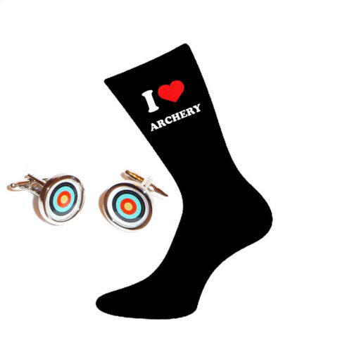 I Love Archery Socks /& Archers Target Cufflinks Gift Set X6VL008-PSN175A