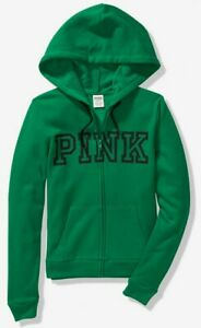 NWT-PINK-VS-VICTORIA-039-S-SECRET-LOGO-FULL-ZIP-HOODIE-GREEN-MEDIUM-FREE-SHIPPING