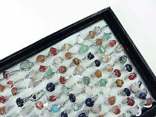 US SELLER-15pc genuine agate stone semi precious stone rings bulk lot jewelry
