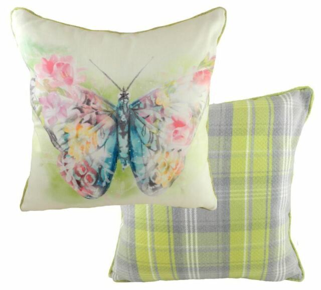 """FILLED BUTTERFLY FLORAL TARTAN CHECK EVANS LICHFIELD PINK YELLOW CUSHION 17"""""""
