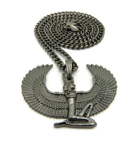 "BLACK EGYPTIAN MAAT PENDANT /& 24/"" BOX,CUBAN CHAIN NECKLACE HIP HOP"