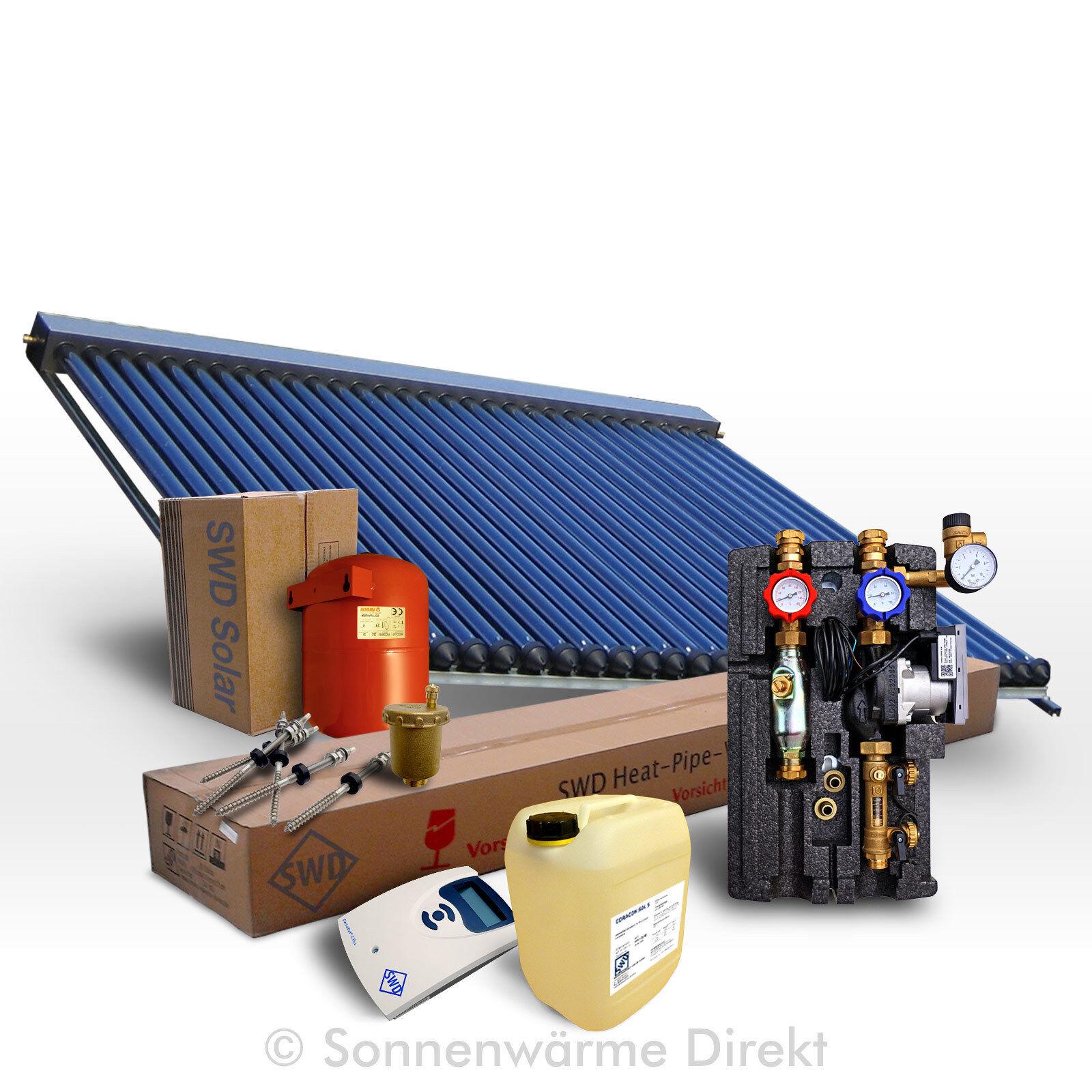 SWD Solarpaket 20 m² (Solar, Heizung, Warmwasser) mit Röhrenkollektor, BAFA