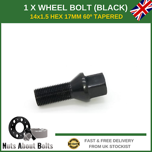 B8 2008+ 1x Black Alloy Wheel Bolt M14x1.5 Nut For Audi A4