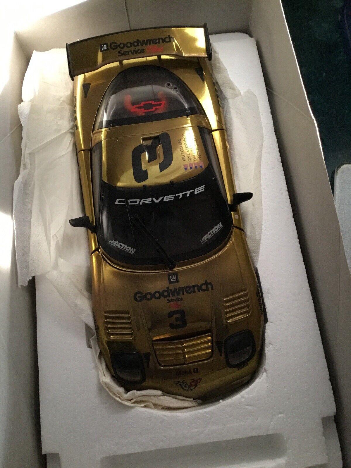 Action Dale Earnhardt  3 1 18  Raced 2001 Gold Corvette C5R - NEW  1 3500  Rare