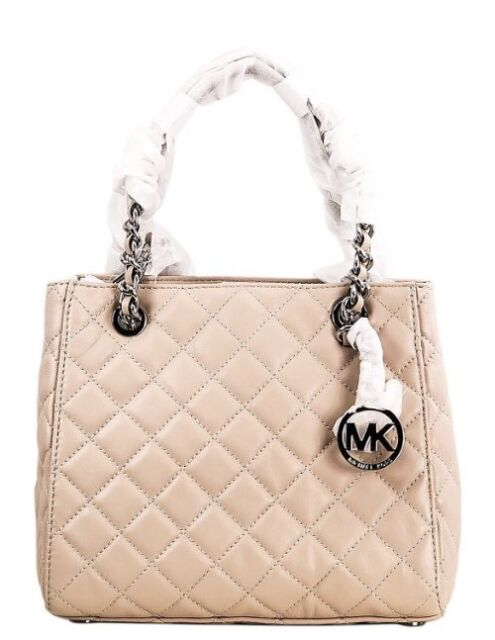 fd79d6819696 Michael Kors Susannah NS Quilted Ballet Leather Small Tote Satchel Bag NWT