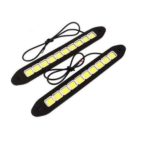 2X Waterproof Auto Daytime Running WHITE LED Light DRL COB Strip Lamp Fog Car