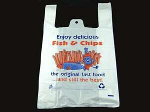 """White Plastic Vest Carrier Bags Fish & Chips Printed 11""""x16""""x19"""" 14 Micron"""