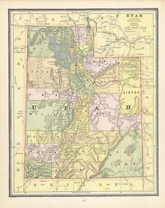 Map Of Arizona Utah.Details About 1883 Cram S Map Of Utah Front And Arizona Back