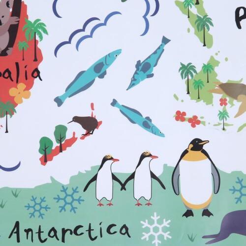 Kids Room Decoration Class Room Cartoon Animals Poster World Map Wall Sticker J