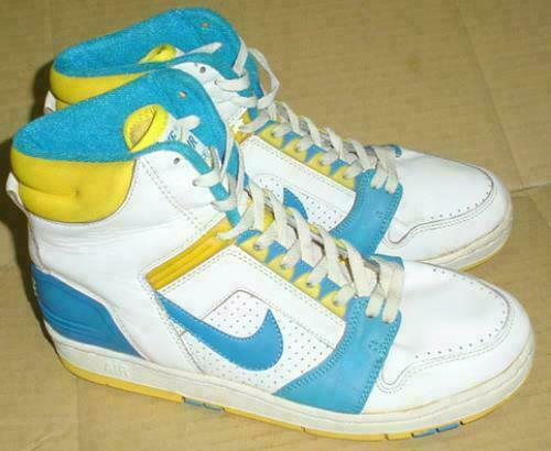 NIKE AIR FORCE II Hi Sneakers White bluee Yellow Sports shoes size US 9 1 2