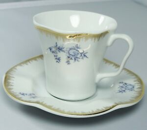 Turkish-Anatolian-Porcelain-Coffee-Set-with-Gold-Rim-and-Blue-Flowers-Great-Gift