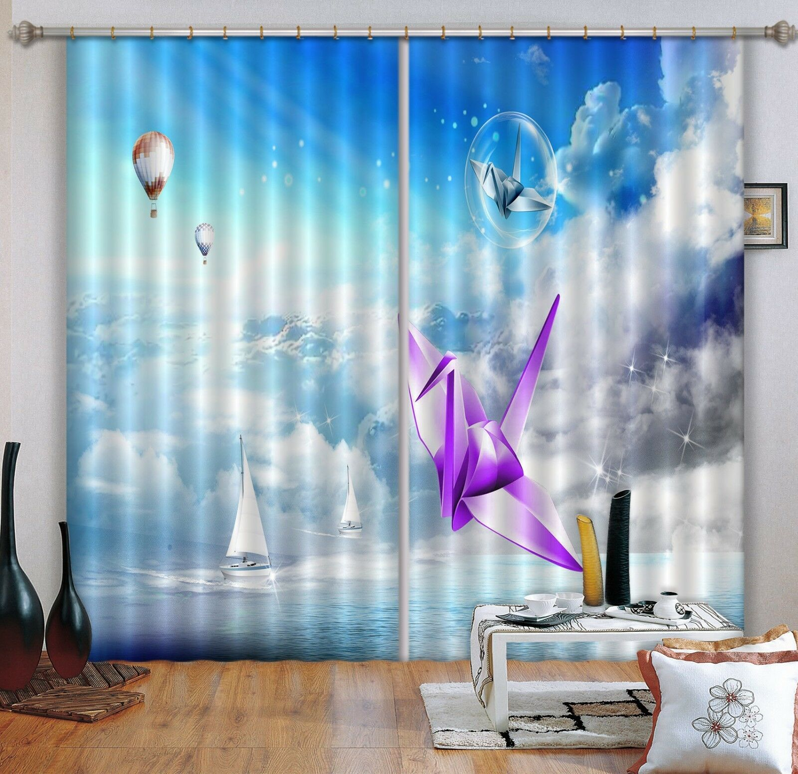 3D grúas Sky 3 Cortinas de impresión de cortina de foto Blockout Tela Cortinas Ventana au