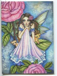 ACEO S/N L/E FAIRY GIRL PINK GARDEN ROSE ORANGE TABBY CAT KITTENS RARE ART PRINT