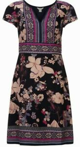 Monsoon-Madeline-Floral-Boho-Dress-Uk-8-Bnwt-Navy-Multi-Coloured
